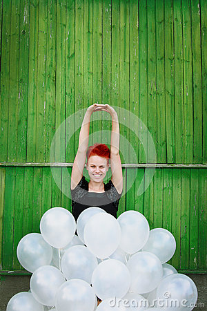 Free Red Hair Girl With Silver Balloons Royalty Free Stock Image - 26168386