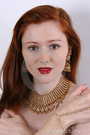 Red hair and jewelry