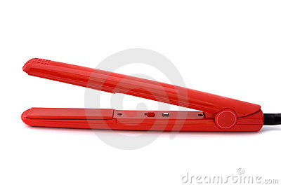Red hair straighteners over white