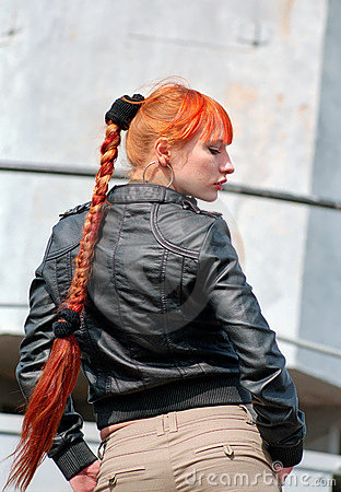 Red hair woman with braid