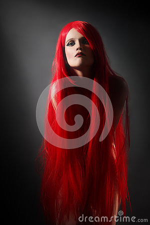 Red hair woman hairstyle