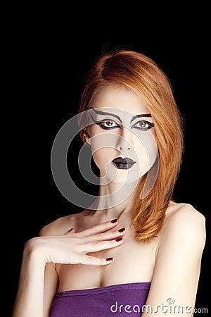 Red-haired female model