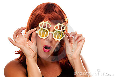Red Haired Girl with Bling-Bling Dollar Glasses