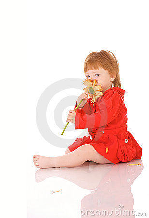 Red-haired girl with flower