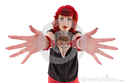 Red haired girl with handcuffs