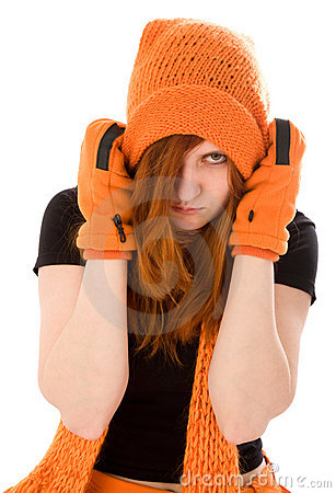 Red haired girl in orange hat