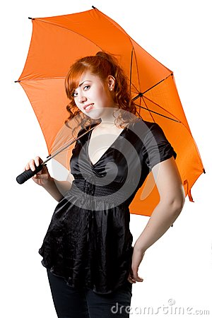 Red-haired girl with an umbrella