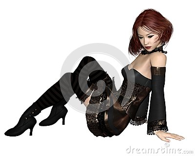 Red Haired Goth Party Girl - Sitting