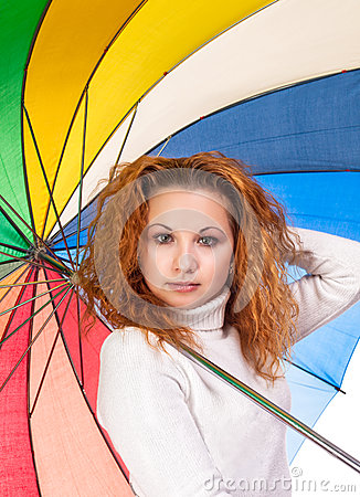 Red-haired woman with  umbrella