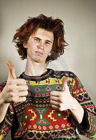 Red-haired youngster thumbs-up