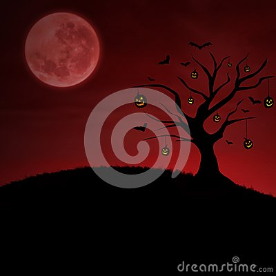 Red halloween pumpkin tree under moon