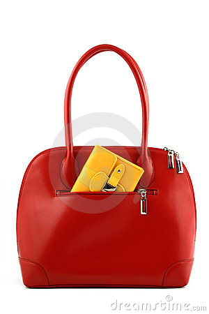 Free Red Handbag With Wallet Stock Image - 3294931