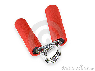 Red handled hand grip for warm-up