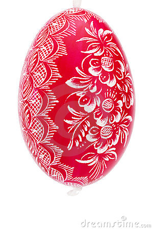 Red hanging hand painted easter egg