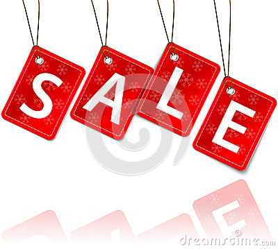 Red hanging tags with the word sale