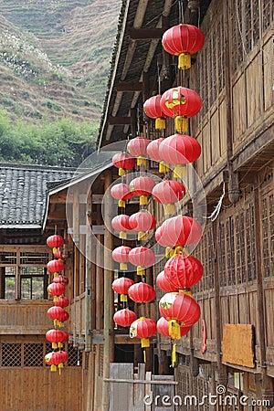 Free Red Happy Lanterns At Ancient Wooden Houses, Dazhai / Longsheng, China Stock Image - 35921131