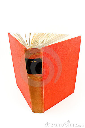 Red hardcover book about art