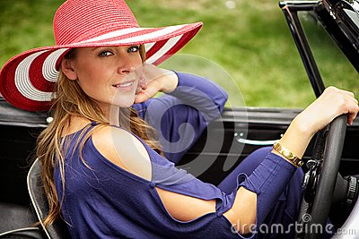 Red hat, classic car