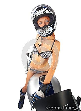 Free Red Head Girl-biker Stock Photos - 6172803