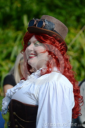 Red head steam punk Editorial Stock Image