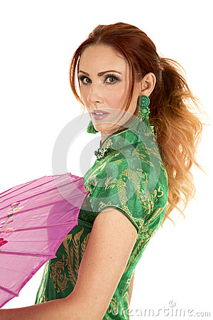 Free Red Head Woman Asian Dress With Umbrella Side Close Stock Photography - 63091142