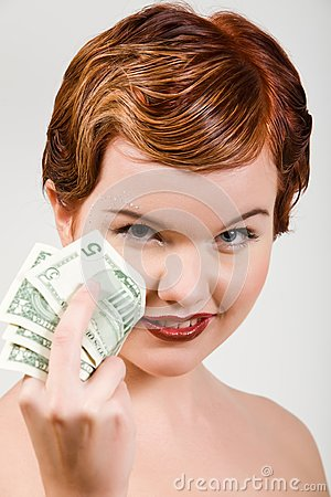 Red-head woman with dollar strasses