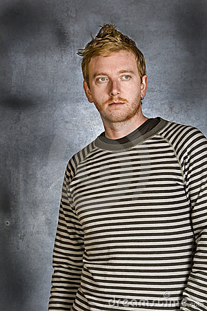 Red Headed Male against Grunge Background