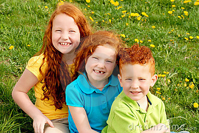 Red headed siblings portrait
