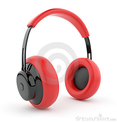 Red headphones 3D. Icon.  on white