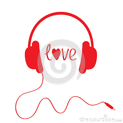Red headphones with cord . Isolated. Love card.