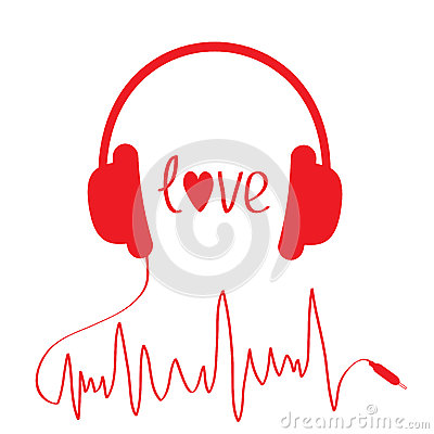 Red headphones with cord  in shape of cardiogram.