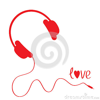 Red headphones with cord . White background. Love