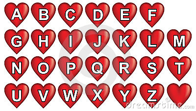 Red heart alphabet