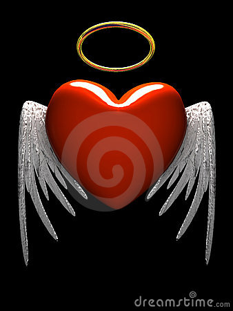 Free Red Heart-angel With Wings Isolated On Black Background Royalty Free Stock Images - 1766749