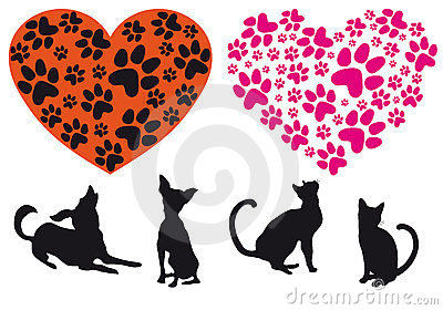Red heart with animal foodprint pattern, vector