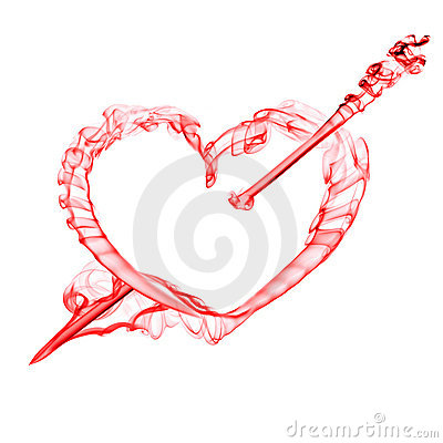 Red  heart with arrow  for valentine day