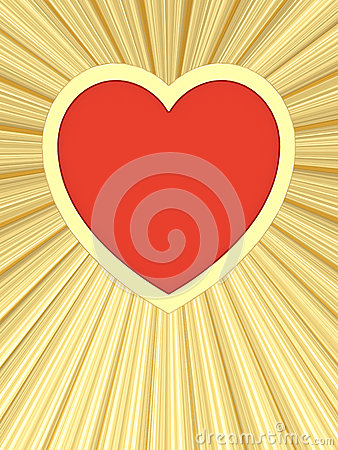 Red heart on background of golden rays