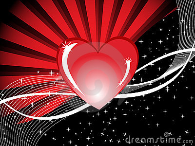 Red heart background with rays & love illustration