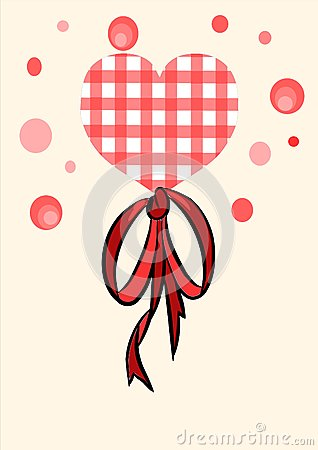 Red heart with beauty bow - vector