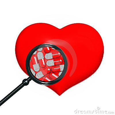 Red heart with black magniglass