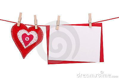 Red heart and blank card
