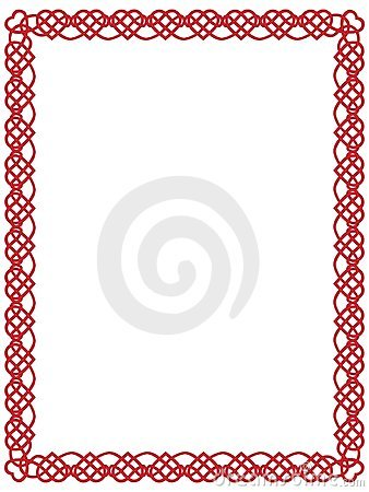 Red heart border with celtic ornament