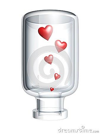 Red heart in bottle