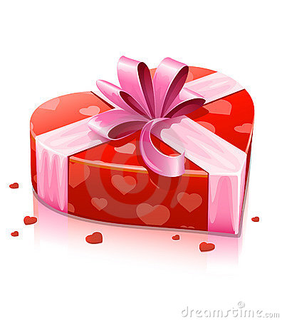 Red heart box with ribbon