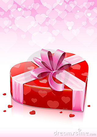 Red heart box with ribbon valentines greeting card