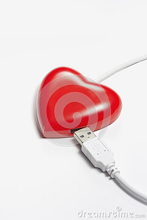 Red heart connect with USB plug