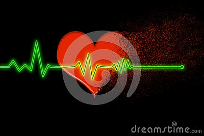 Red heart that disintegrates into dust with the heartbeat line that stops on a black background Stock Photo