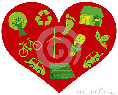 Red Heart with Eco Friendly Icons Illustration