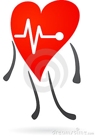 Red heart with electrocardiogram