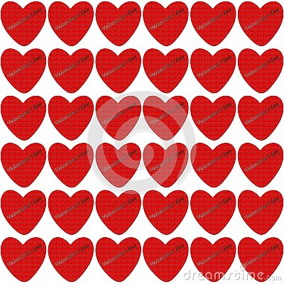 Red heart with embossed texture inside Stock Photo